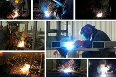 Saldatura dei lavoratori dell'industria siderurgica fotografia stock