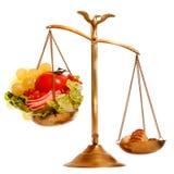 Saldo met gezond versus zwaar voedsel stock afbeelding