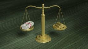 Saldoschaal met Dollarpakken en goudstaven vector illustratie
