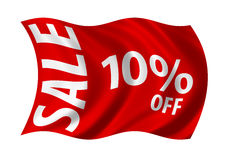 Sale 10% Off. Flag billowing in the wind. White on red Royalty Free Illustration