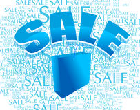 Shopping bag with sale. An illustration of a blue shopping bag with the text 'sale' written over it and on the background Stock Images