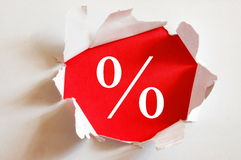 Sale. Concept with hole in blank paper Stock Photos