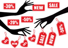 Sale. Hands holding red sale badges, vector Royalty Free Stock Images