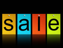 Sale. Yellow, blue, red and green rectangle over black background , sale information Stock Photo