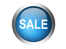 Sale. Blue sale button over  white background. isolated illustration Stock Photography