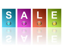 Sale. Advertisement with  color rectangles  over white background Royalty Free Stock Photos