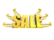 Sale sign with trumpets Royalty Free Stock Photos