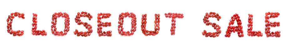 Sale. Phrase closeout sale of red pomegranate letters Royalty Free Stock Images