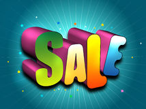 Sale 3D illustration. Sale in colorful 3D block letters illustrated on blue with stars and stripes Stock Images