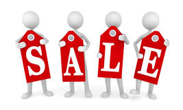 Sale. Concept, depicting four persons holding  tags; great for shopping, s, advertising, discounts and promotion Stock Photo