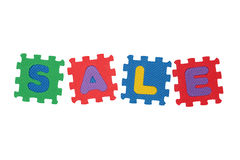 Sale. Word Sale, from letter puzzle, isolated on white background Royalty Free Stock Photos