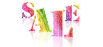 SALE. Colorful text with reflection isolate in white Stock Photos