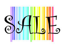 Sale. The word sale on bright colorful rainbow bar code colors background.  Eye catching logo for sales ad banner or notices .  Colourful stripes of rainbow Royalty Free Stock Photography