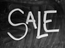 Sale. The word Sale written with chalk on a blackboard Stock Image