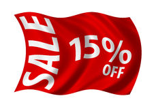 Sale 15% Off. Flag billowing in the wind. White on red Royalty Free Stock Photos