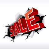 Sale. Inscription break through white background. Vector Illustration Royalty Free Stock Photos