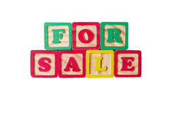 For Sale. Written with children's blocks Royalty Free Stock Images