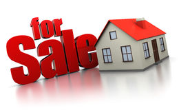 For sale. 3d illustration of house for sale sign, over white background Stock Photos
