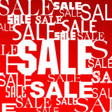 Sale. Advertisement with many words  on red background Vector Illustration