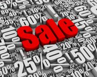 Sale!. Batch of sale related 3D words. Part of a series Stock Image