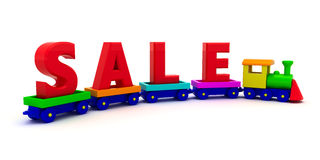 Sale. The word Sale on the toy train Royalty Free Stock Photography