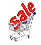 Sale. Shopping cart with SALE sign