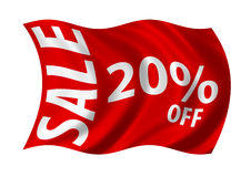 Sale 20% Off. Sale 10% off flag billowing in the wind. White on red Royalty Free Stock Images