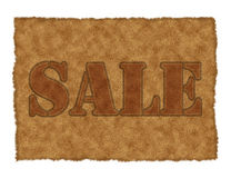 Sale. The word sale in brown suede Stock Image