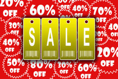 Sale. Golden sale tags advertisement on the red great discount background Royalty Free Stock Images