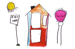 For Sale. A sunny, happy 6 year old children's drawing of a house for sale vector illustration