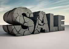 Sale. Render of a sale text made of cracked stone Royalty Free Stock Photo