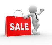 Sale. 3d people - human character, person with shopping bag and word Sale.  The discount offer Royalty Free Stock Images