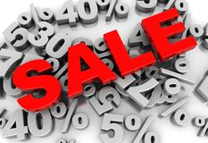 Sale. 3d-text placed on numbers of percent Stock Photos