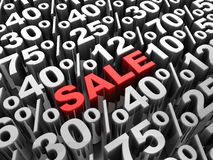 Sale. 3d-text in center of different percents Stock Photography