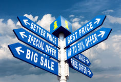 Sale. Big Sale, Better Price and Special Offer Directional Road Signs on sky background Royalty Free Stock Image