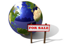 For Sale. An 3d earth globe for sale with shadow and reflections Stock Photography