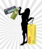 Sale. Woman silhouette with sale cards in hands royalty free illustration