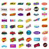 Set of sale signs. An illustration of a colorful set of sale signs on a white background Royalty Free Stock Photo