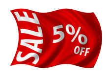 Sale 5 % Off. Sale 5% off flag billowing in the wind. White on red Royalty Free Stock Photography
