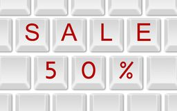 Sale 50% on keyboard Stock Photo