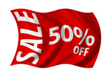 Sale 50% Off Flag. Billowing in the wind. White on red Royalty Free Stock Photography
