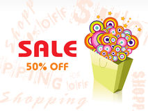 Sale 50% with shopping bag, vector Stock Image