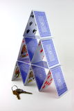 Card tower and set of keys Stock Image