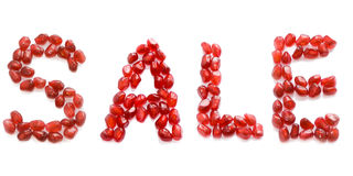 Sale. English red pomegranate letters sale Stock Photo