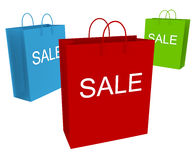 Sale. Three shopping bags showing discount and clearance isolated on white Royalty Free Stock Photography