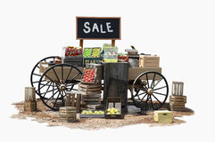 Sale. Of various product items on a wagon in Old Western style Royalty Free Stock Image
