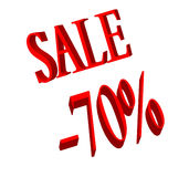 Sale and 70 percent number. 70 percent number and sale word on white Royalty Free Stock Images