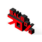 Sale 70% on white background. Vector illustration in 3D isometric style Stock Photos