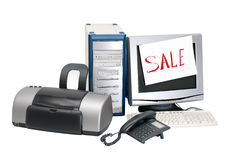 Sale. Computer, monitor, keyboard, printer, phone on a white background Stock Image