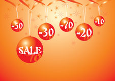 Sale. Christmas baubles with discount prices Stock Images